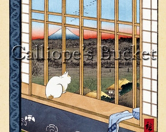"""Asakusa Ricefield and Torinomachi Festival (浅草田甫酉の町詣), Ukiyoe woodblock print. (all artworks are sold without the """"Calliope's Bucket"""" stamp)"""