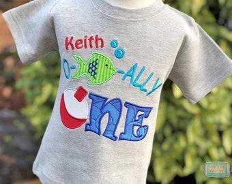 Ofishally One Shirt - The Big One Shirt - Bobber Fishing Shirt - Ofishally One Party - First Birthday - Personalized - Boys Fishing Shirt