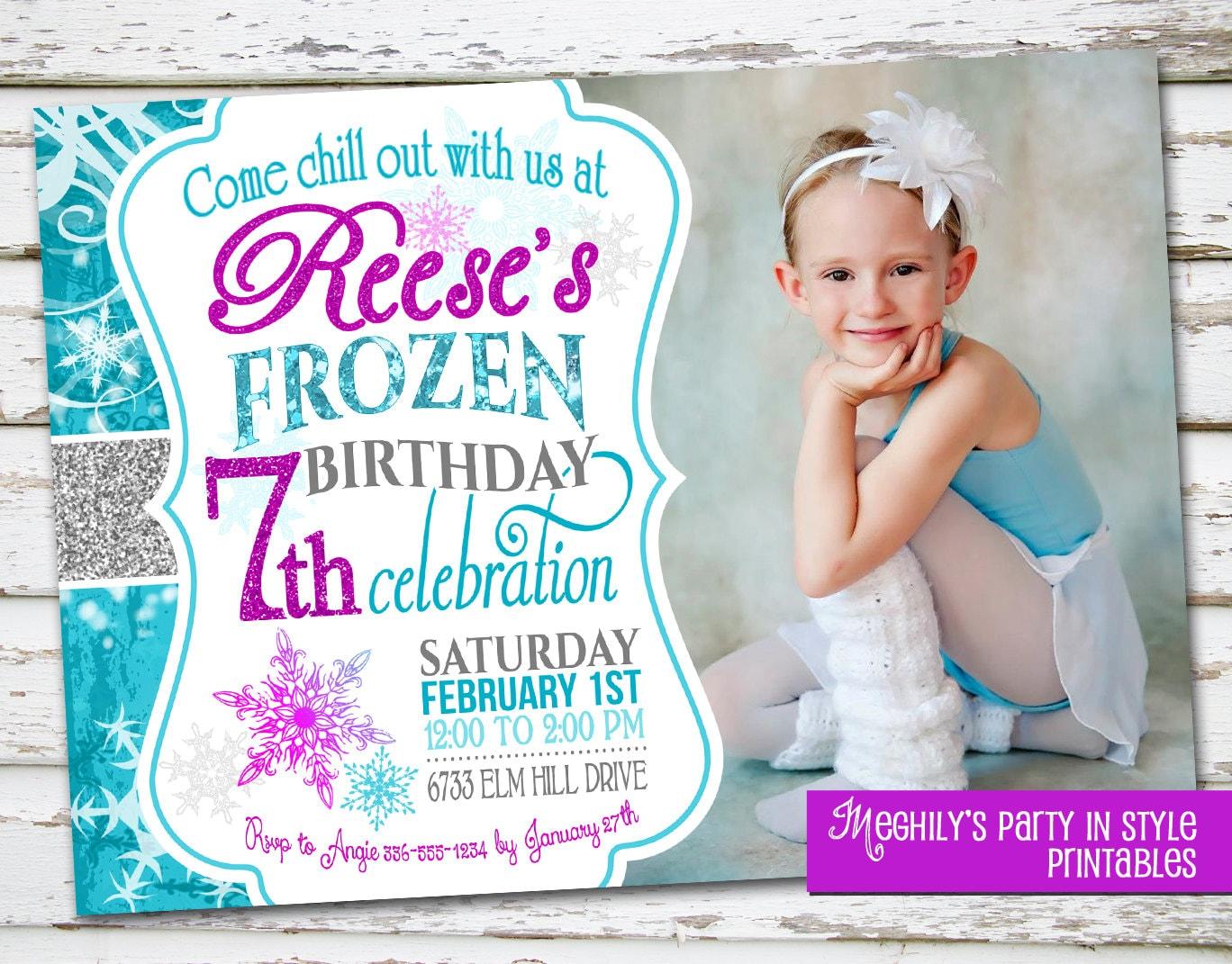 Frozen Birthday Invitation With Photo - Frozen birthday party invitation template free