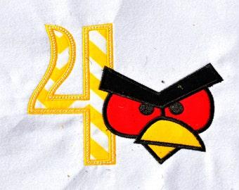 Angry birds birthday shirt with name monogram