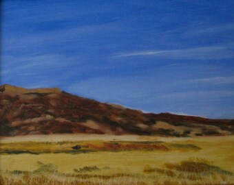 View of the Mesa - ORIGINAL Oil Painting - Framed - Landscape - New Mexico - Southwest - Blue - Yellow - Brown - Mountains - Desert