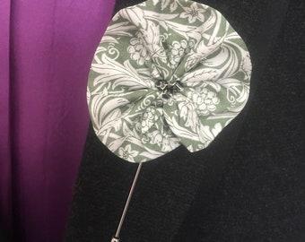 Sage Green Lapel Pin, Men's Lapel Pin, Buttonhole, Flower Lapel Pin, Boutonnière , Liberty Lapel Pin