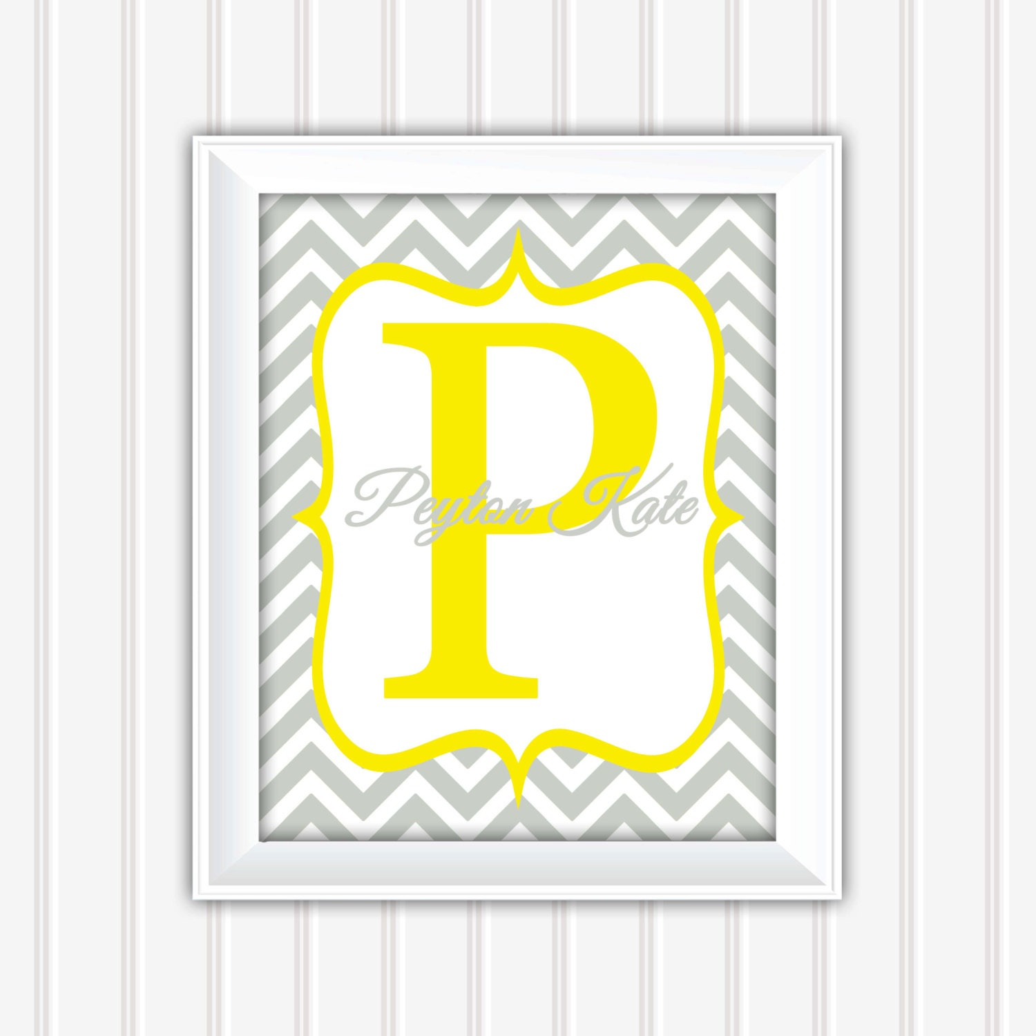 Chevron Wall Art, Name Wall Art, Initial Wall Art, Personalized Wall ...