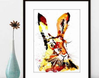 Rabbit Watercolor Painting Art Print Fall Home Decor and Wall Art