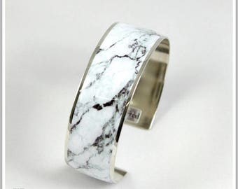 2 cm silver plated Cuff Bracelet marble white Alicia