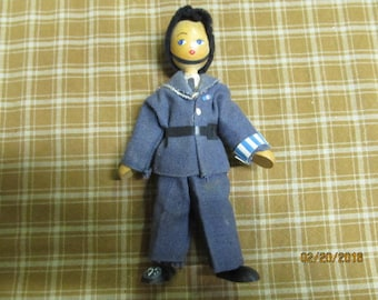 Vintage Wood Wooden Soldier Military Doll Uniform Hand Painted Face Navy Sailor
