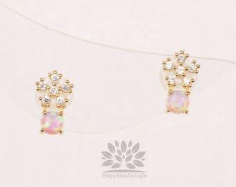 E315-G-PK/fleur cubique plaqué or avec boucle d'oreille de poteau d'argent 3mm opale rose, 1paire