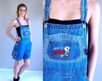 vtg 90s TWEETY BIRD denim OVERALLS grunge Medium preppy jean hipster shorts jumpsuit dungarees