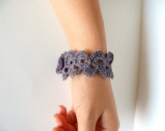 Lavender purple linen bracelet, crochet bracelet, Birthday lace trim bracelet, Shabby chic bracelet, wedding romantic bracelet, Wide Cuff