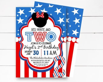 Red, White and Two Invitation, Red White and Two Minnie Mouse Invitation, Oh Twodles Invitation, Minnie Mouse Birthday,  DIY or Printed