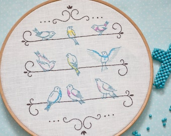 Hand embroidery pattern, Bird embroidery pattern, Shabby chic wall décor, embroidery pattern pdf by NaiveNeedle
