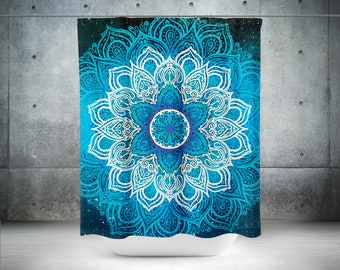 Mandala Curtain, Boho Shower Curtain, Bohemian Curtain, Blue Shower Curtain, Hippie Shower Curtain, Boho Bathroom Decor