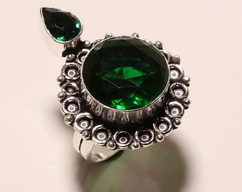Vintage Style ! Faceted Chrome Diopside Quartz  Silver Plated Handmade Ring us Size 7