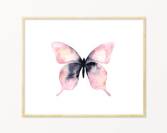 Pink Watercolor Butterfly Art Print. Pink and Black Butterfly Wall Art. Dorm Room Art. Gallery Wall Nature Art. Butterfly Painting. Pink Art