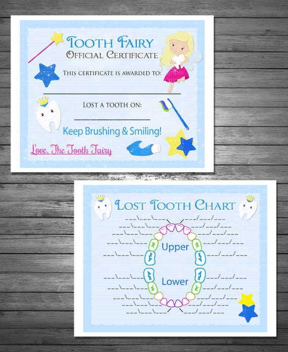 Tooth Fairy Certificate And Lost Tooth Chart For Boy