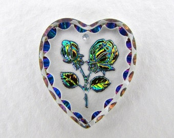 Vintage Cameo Flower Pendant Clear Glass Heart Bead Intaglio Vitrail 20x18mm vgb1101 (1)