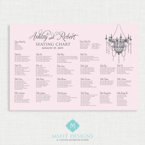 Printable Seating Chart - Wedding Seating Chart- Chandelier - Pink