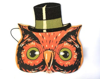 Vintage Halloween Owl Mask Cody Foster Paper W Black Glitter Top Hat