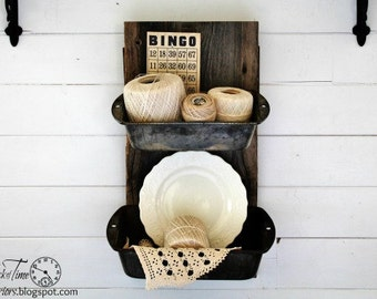 Antique Barn Wood with Baking Tin Pans - Metal Wall Bins - Industrial Farmhouse Loft