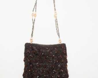 vintage beaded bag, beaded purse, victorian purse, victorian look bag, crocheted bag, boho purse, boho bag
