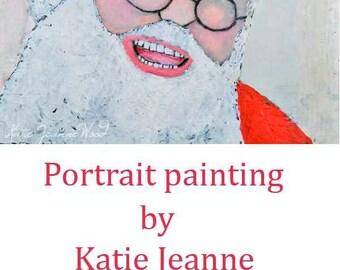 Acrylic Portrait Painting. Santa Claus Portrait Painting. Christmas Art. Saint Nick Painting. Children's Room Decor