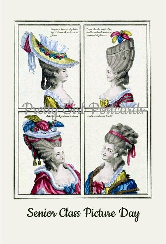 Senior Class Picture Day Funny Marie Antoinette Postcard Card High Hair 18th Century Fashion Pretty Girl Postcards Free Ship in USA