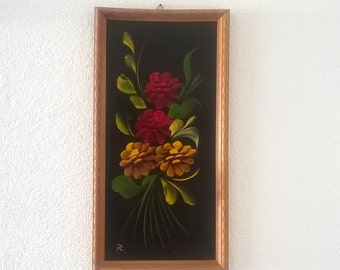 Wood with painted flowers vintage