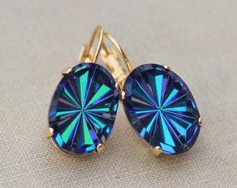 RARE Vintage Pin Wheel West German Rhinestone Jewel Earrings,Bermuda Blue,Dark Rainbow,Blue Green Helio,Gold Drop,Unique,Gift For Her,Oval