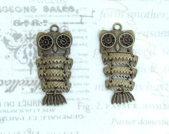 Antique Brass Owl Pendants Antiqued Brass Bird Pendants Antiqued Brass Nature Pendant