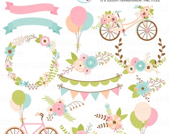 Bikes & Flowers Clipart Set - bicycles clip art, floral, wedding, bunting, balloons - personal use, small commercial use, instant download