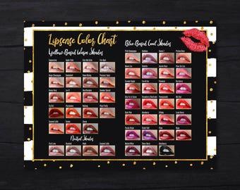 LipSense Color Chart Top 50, Lipsense Color Palette 2017, SeneGence Fall Colors, Color Chart A4, Digital Files, Instant Download