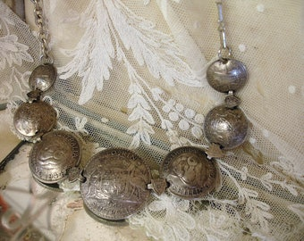 vintage assemblage australian coin necklace domed silver coins from the 1940s  shield connectors chunky contemporary vintage chains