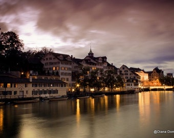 Modern Photography, Night Photos, Zurich Switzerland, Zurich Print, Zurich Art, Swiss Print, Zurich Cityscape, Switzerland
