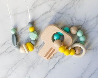 Baby Teething Set, Nursing Necklace, Teething Necklace, Teething Keys, Silicone Necklace, Baby shower gift, Teething Jewelry, New Baby Gift