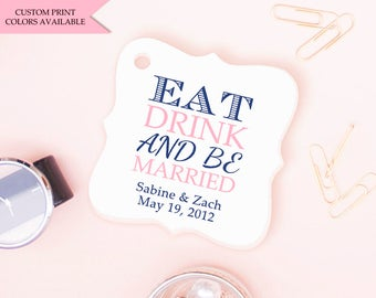Eat drink and be married tags (30) - Wedding drink tags - Wedding favor tags - Eat drink be married - Wedding gift tags