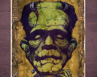 Frankenstein Boris Karloff Universal Monster MINI Art Print by award winning artist Brady Stoehr