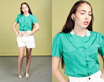 80s Green Lace Collar Blouse Vintage Dainty Short Sleeve Top