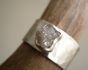 Rough diamond on Wide Hammered band  1.30 - 2.05 ctw - Engagement, Wedding, Anniversary Ring, Sterling Silver- Updated NEW STONES