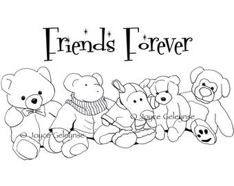 Digital Stamp Design, Commercial Use: Hand Drawn Stamp Teddy Bears, Stuffed Animals, Friends Forever, png and jpg files, INSTANT DOWNLOAD