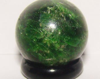 Natural Green Chrome Diopside sphere / ball from Siberian Region of Russia