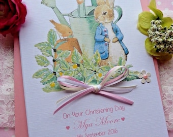 Handmade Personalised Christening / Naming or Baptism Day Card Peter Rabbit