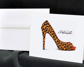 Leopard Print, Personalized Note Cards, Stationery Set, Thank You Cards, Notecards, Custom Stationary, Christmas Gift, Stationary Set