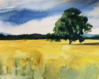 Wheat Field, landscape, tree landscape, wheat, countryside, rural, England, field painting, English countryside