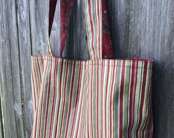 Sale! Reversible Floral/Striped Tote Bag