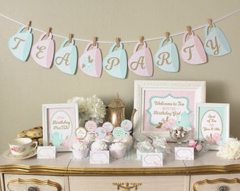 Tea Party Birthday Party Printable Set Decorations: Classic Shabby Chic Designs - Pink, Mint, & Gold Pack - Invitations, Cupcake Toppers