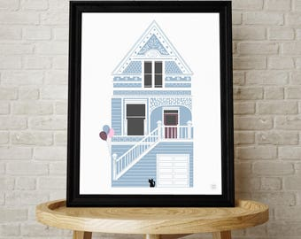 Victorian House, Wall Art, Blue House, Kids Room, Nursery Art, Illustration, San Francisco, House, Black Cat, Balloons, Kids Art, House