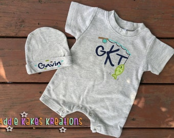 Baby Boy Coming Home Outfit - Monogrammed Fishing Baby Outfit - Fishing Baby Romper - Fishing Baby Beanie - Newborn Coming Home Outfit -Fish