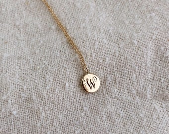 Custom Engraved 14k Gold Circle Initial Necklace