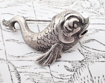 Sterling Silver Brookraft Baroque Dolphin Mythological Fish Figural Brooch