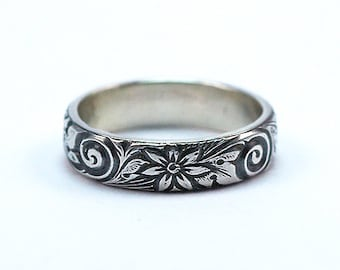 Sterling Silver Ring, Wedding Band, Daisy Design, 5mm Wide Band, Made to Order, Silver Wedding Band, Floral Ring